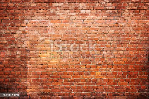 istock texture vintage brick wall, background red stone urban surface 802915128