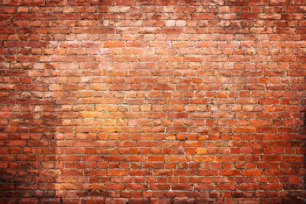texture vintage brick wall, background red stone urban surface stock photo