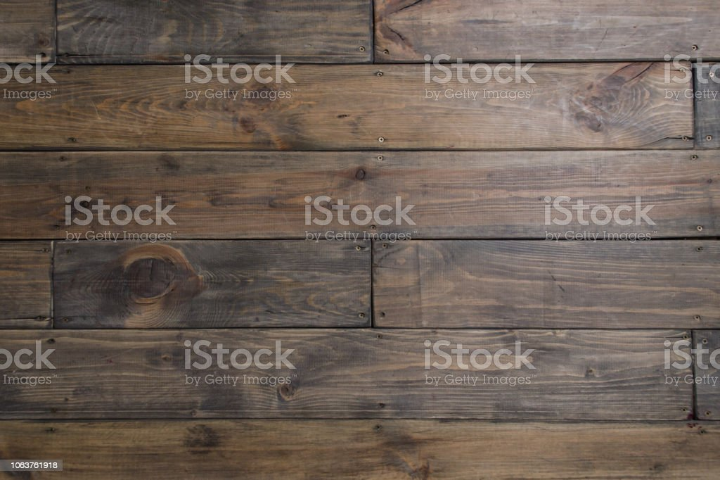 Textured background. Dark boards. Wood Brown wood plank wall stock photo