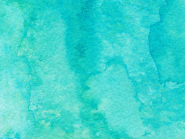 Textured background hand painted with bright blue turquoise color