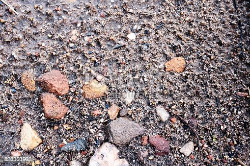 Stones embedded in a rough gravel surface create a highly textured background.