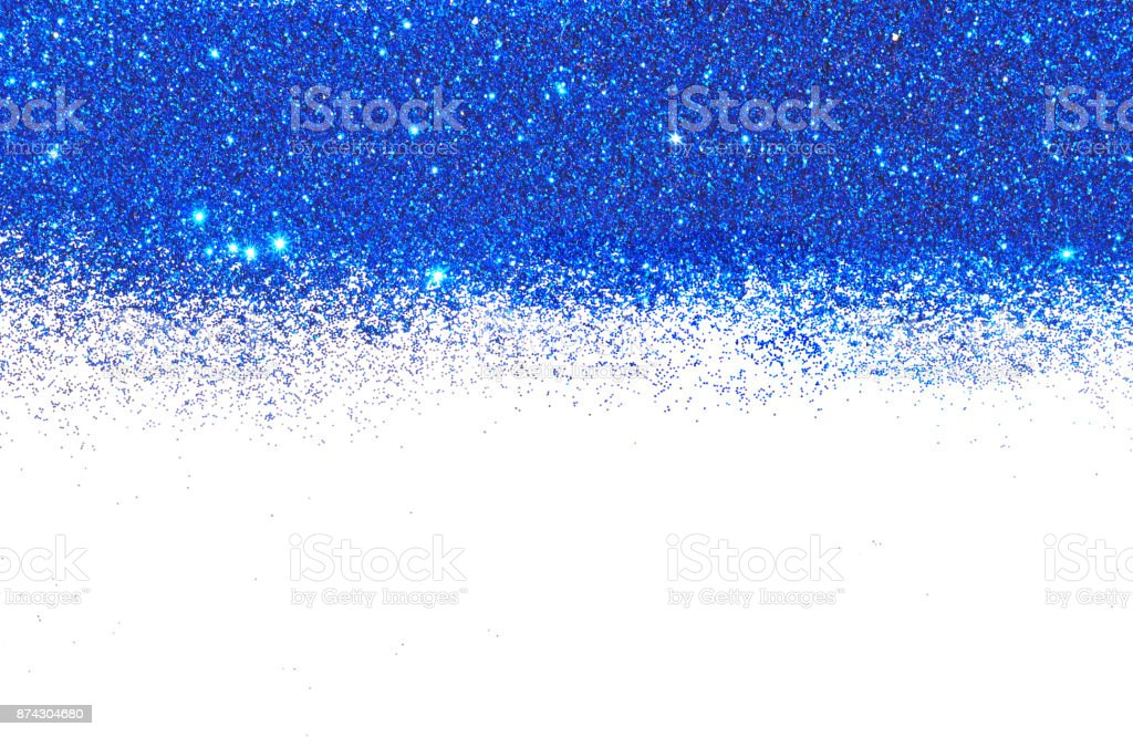 Textured background with blue glitter sparkle on white, decorative spangles stock photo