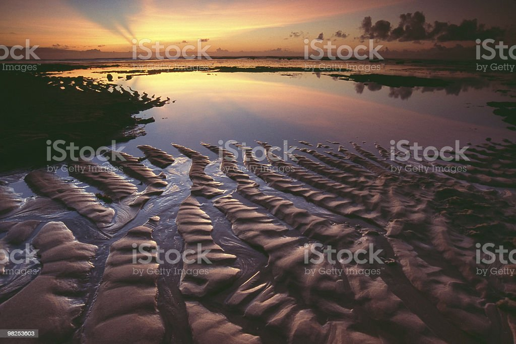 Textured Beach Sand at Sunrise royalty-free stock photo