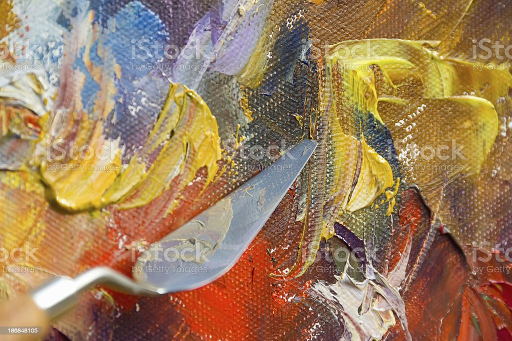 Textured canvas color paint palette knife royalty-free stock photo