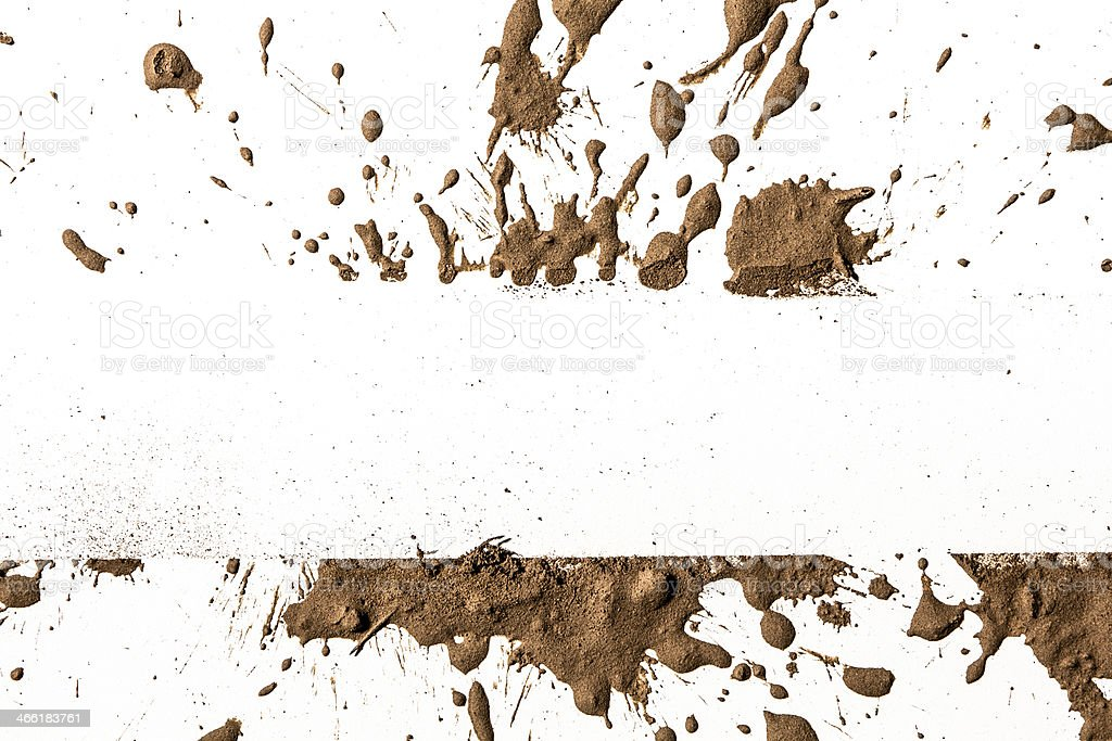 Textured clay splattered with a white streak in the middle stock photo