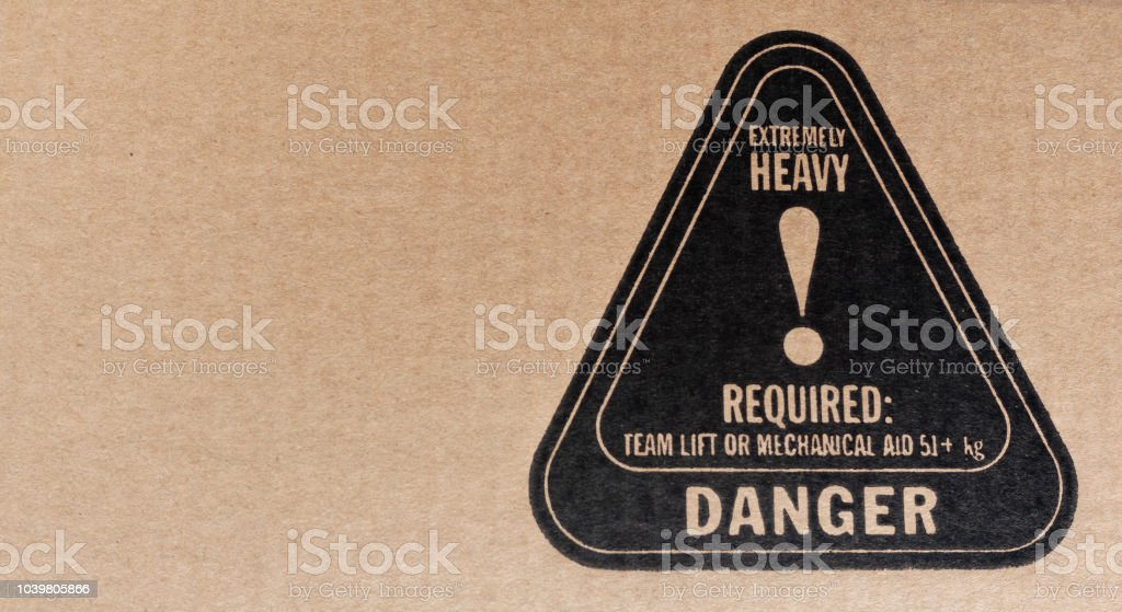 Textured danger cardboard packaging symbol stock photo