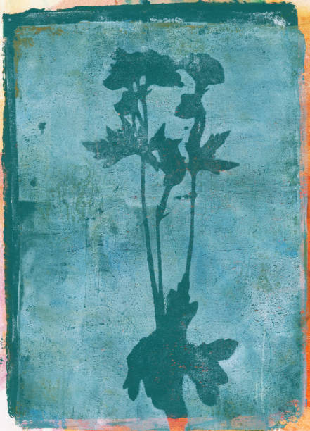 Textured flowers and leaves in teal blue stock photo