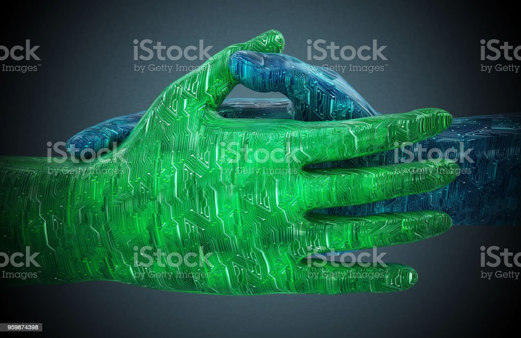 PCB textured hands shaking on dark background stock photo