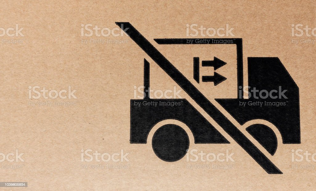 Textured lift cardboard packaging symbol stock photo