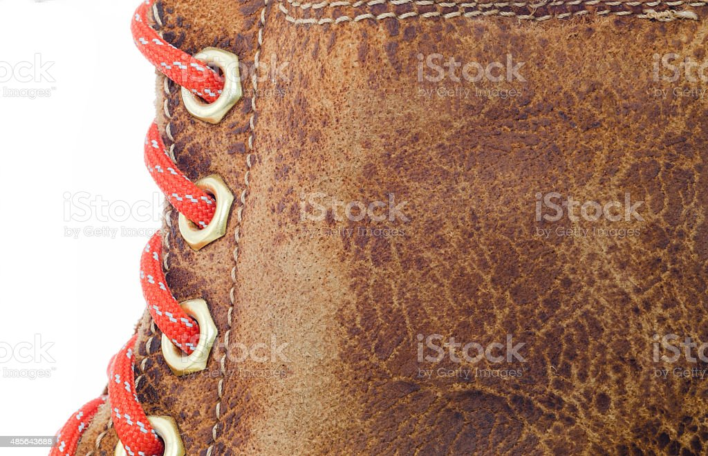 Textured of old leather isolated on white background. stock photo