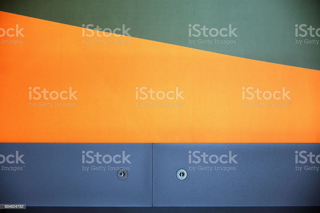 Textured paintable wallpaper and two blue panels. Polygonal multicolor composition stock photo