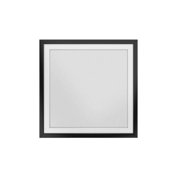 Textured photo frame mockup template on isolated white background, 3d illustration Photo Frame, Picture Frame, Template, Mock-up, Gallery black border stock pictures, royalty-free photos & images