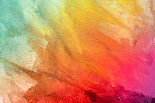 Textured rainbow painting on canvas wallpaper background