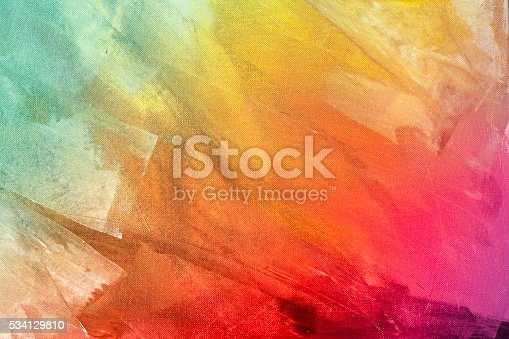 istock Textured rainbow painted background 534129810
