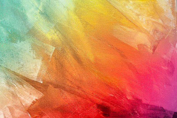 Textured rainbow painted background Textured rainbow painting on canvas wallpaper background brush stroke stock pictures, royalty-free photos & images
