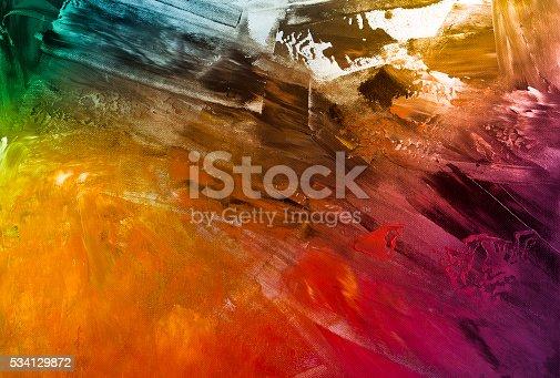 istock Textured rainbow painted background 534129872