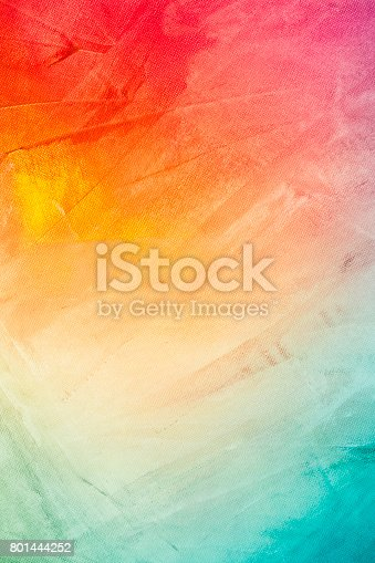 istock Textured rainbow painted background 801444252