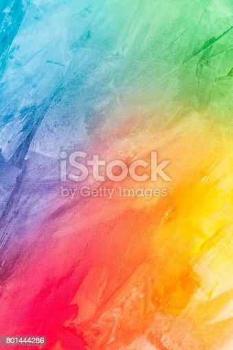 istock Textured rainbow painted background 801444286