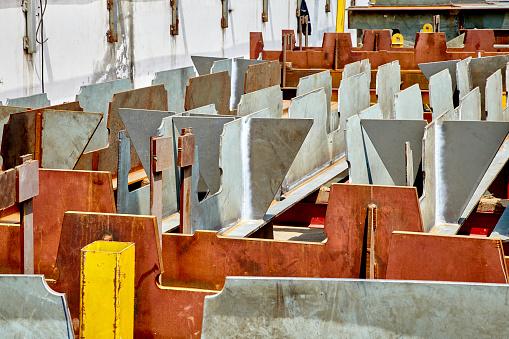 Textured Scrap Metals In Junkyard Or Construction Yard Stock