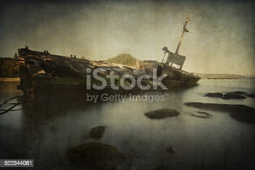 Texture added to an image of a shipwreck to give a more dated and old vintage looking.