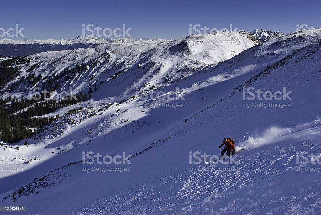 Textured Snow and Extreme Skier with Sun royalty-free stock photo