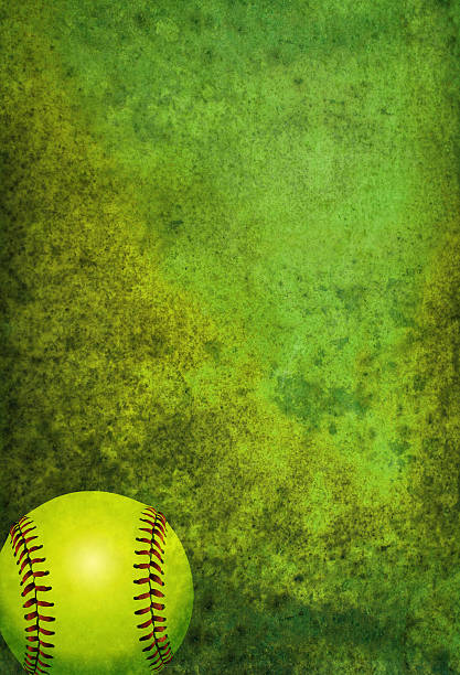 textured softball background with ball - softball stock photos and pictures