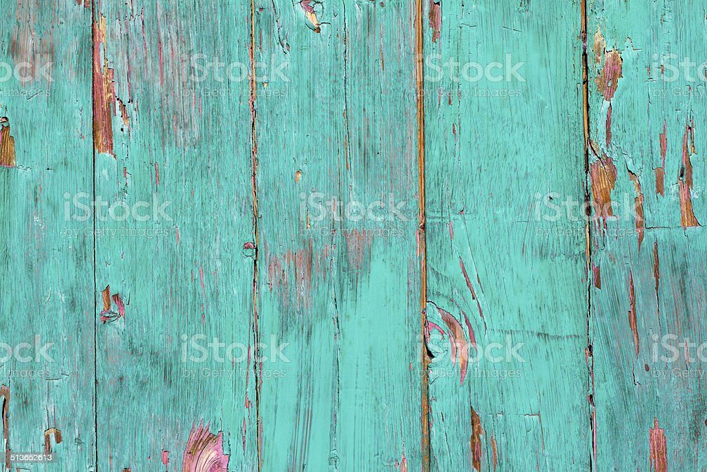Textured Turquoise Background: Distressed Paint on Old Wood stock photo