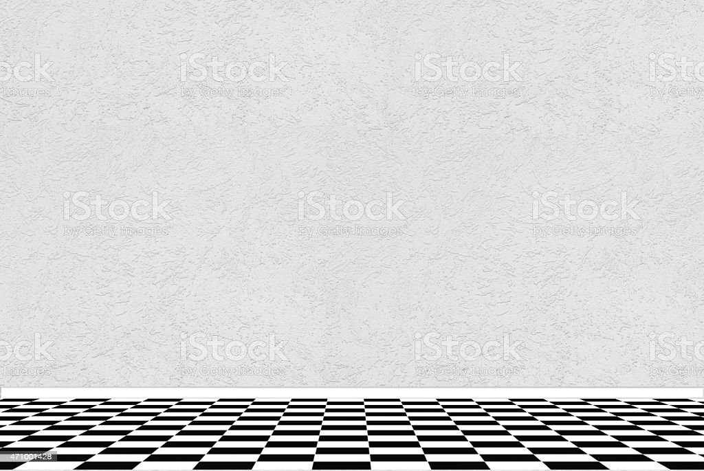 Textured White Wall With Black And White Checkered Floor Tiles Stock