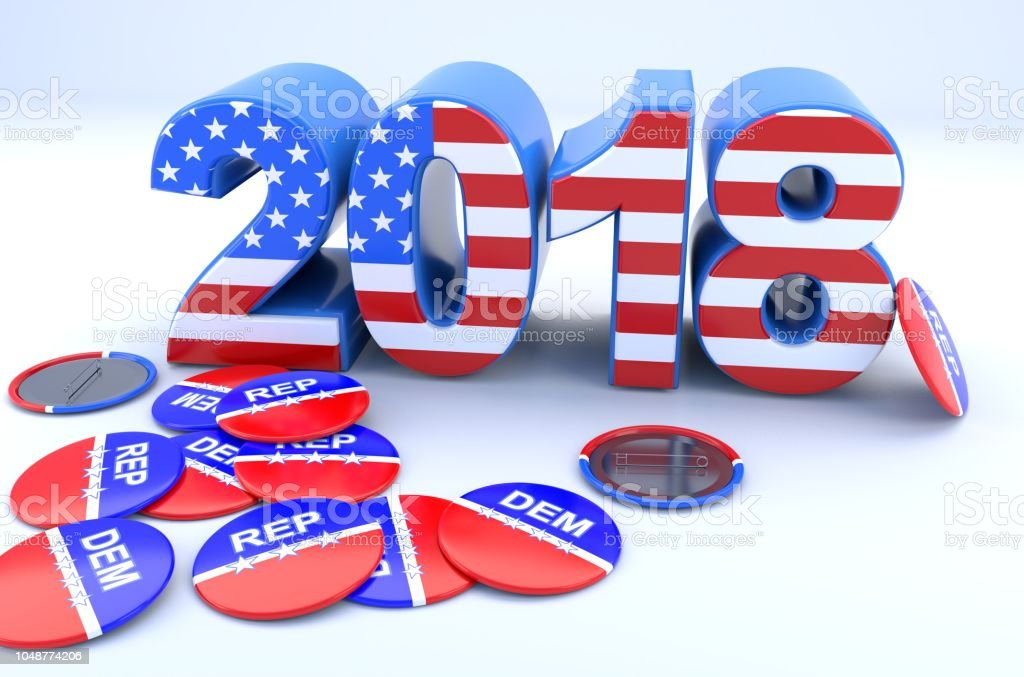 2018 Textured with the US Flag and Pin Badges stock photo