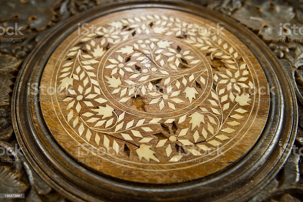 Textured Wood Inlay Table Detail stock photo