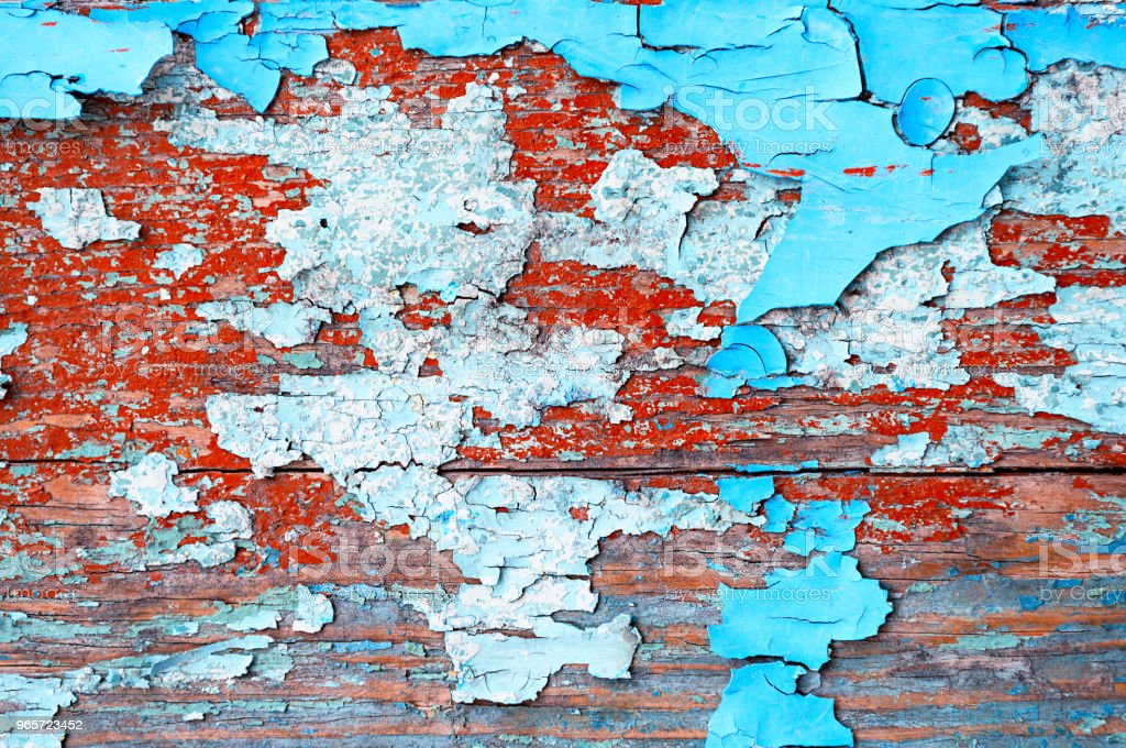 Textured wooden background - wooden planks covered with peeling paint - Royalty-free Abandoned Stock Photo
