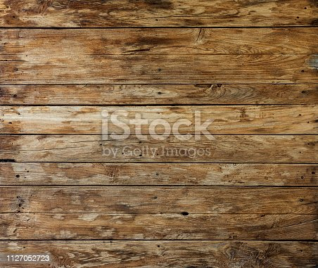 Textured worn, weathered and eroded teak wood panel background with lots of grunge texture, grain, knots and character.