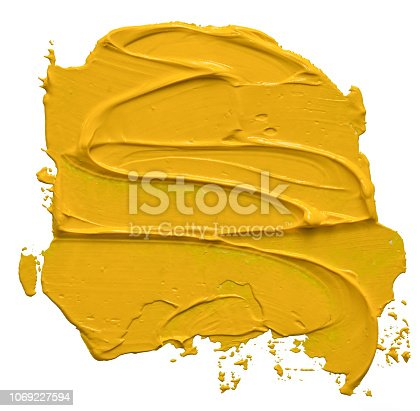 Textured yellow oil paint brush stroke,convex with shadows, isolated on white background