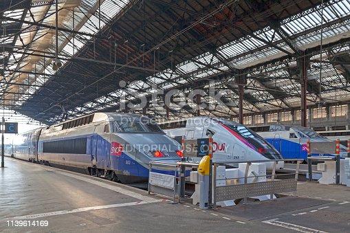 Paris, France - March 26 2019: TGVs at Gare de Lyon ready for departure.