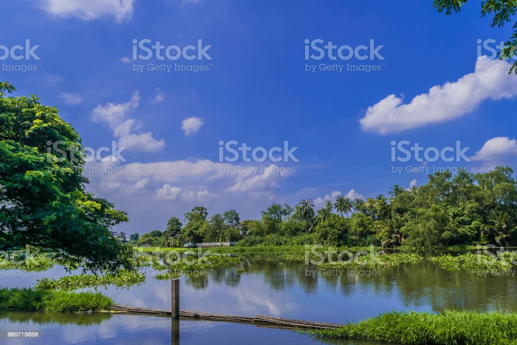 Tha Chin River at day time The river is central to Thailand stock photo