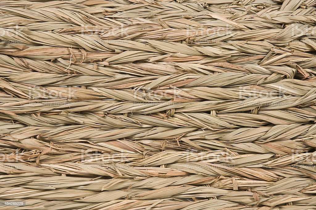 Thached Woven Straw Tiki Background Macro stock photo