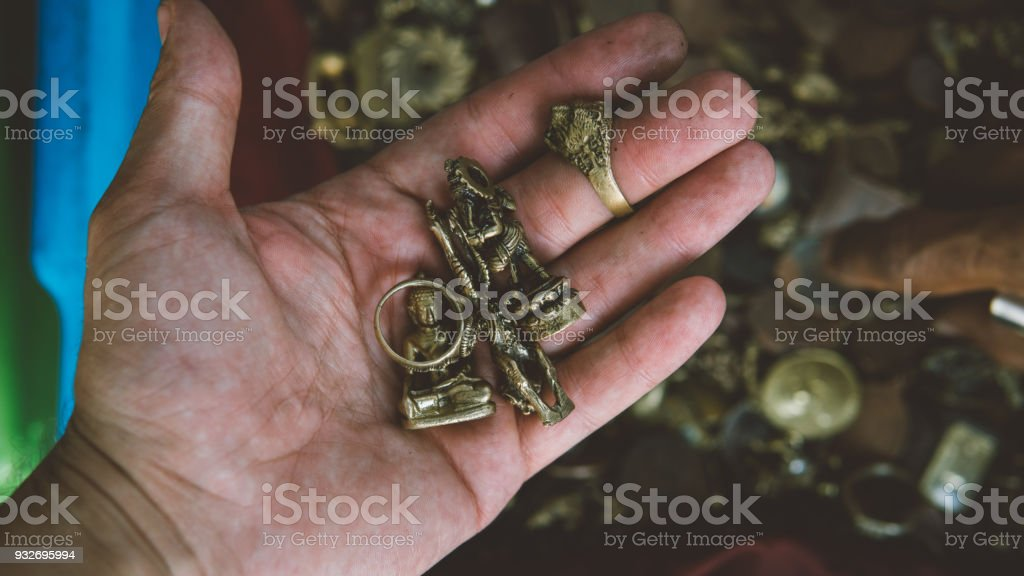 Thai Amulets On The Market Closeup Religious Buddhist Amulets For