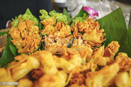 Thai antique appetizer Deep Fried Shrimp Parcel in Bang Rachan Old Market, Sing Buri province, Thailand. In Thai name called Toong Tong.