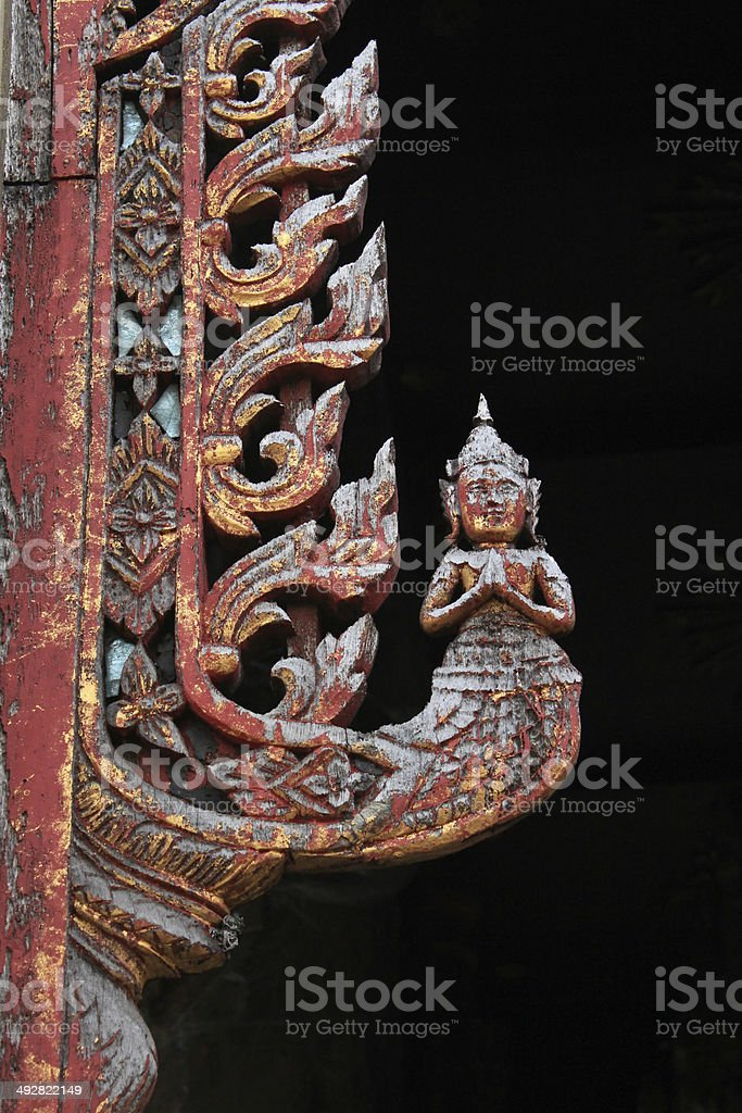 Thai art  Lai Thai  temple in Thailand stock photo