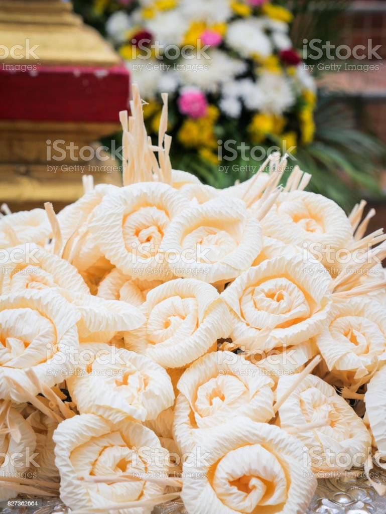 Thai Artificial Flowers Used During A Funeral Kind Of Wood Flower To