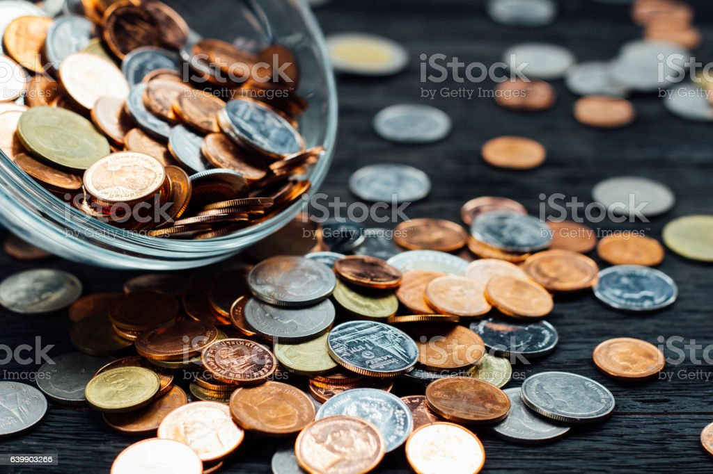 Thai Baht Coins and money background stock photo