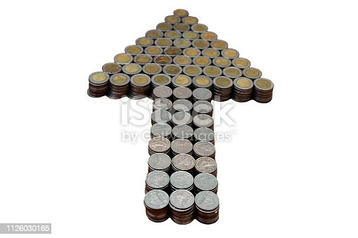 istock Thai Baht lots coin Arranged in arrow shape on with white background texture, Money stack for business planning investment and saving concept 1126030165