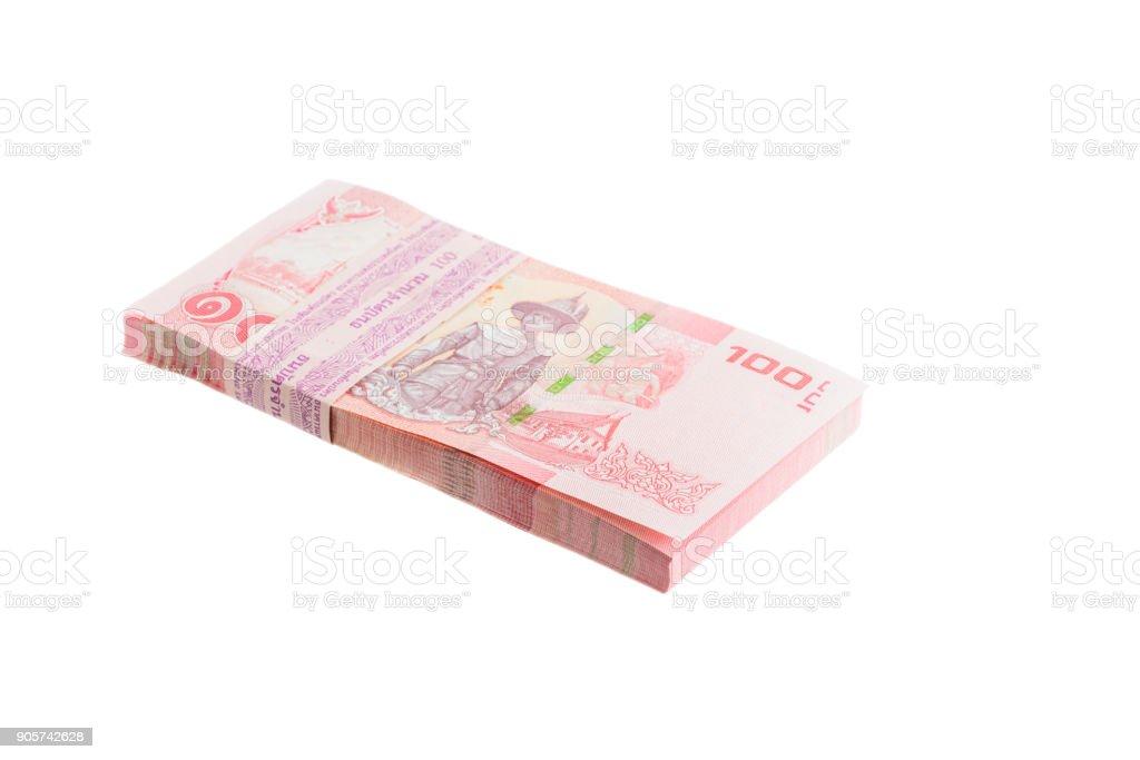 Thai baht money isolated white background stock photo