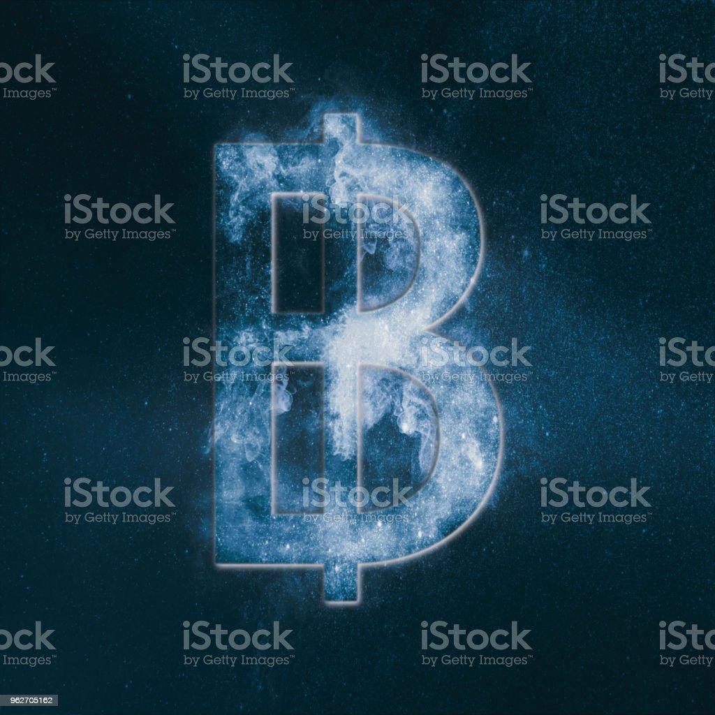 Thai Baht sign, Thailand baht symbol. Monetary currency symbol. Abstract night sky background. stock photo
