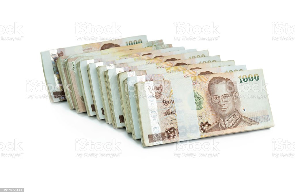 Thai banknote 1000 baht on white background  for business , bank stock photo