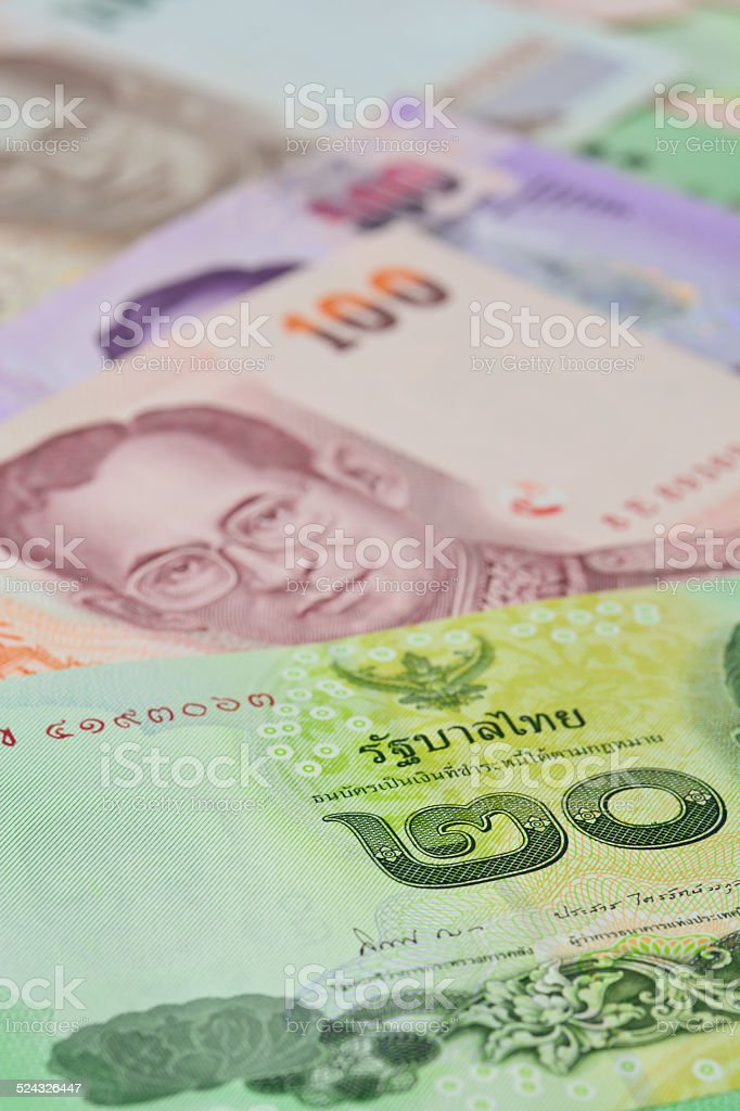 Thai banknotes (baht) for money and business  concepts stock photo