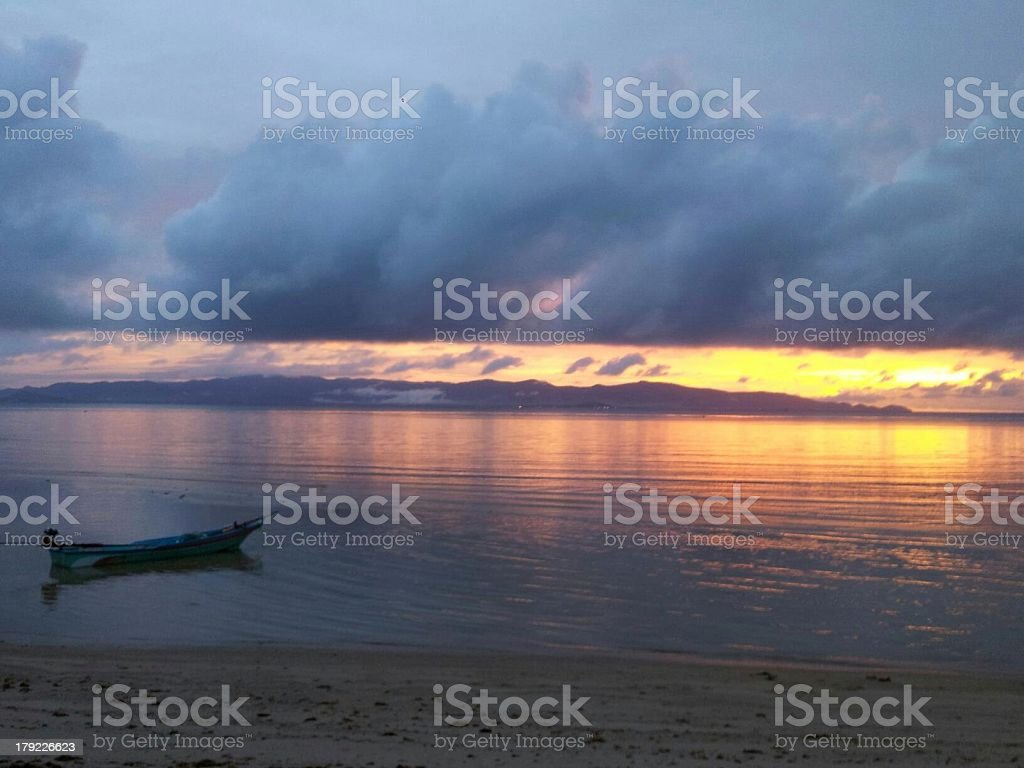 Thai beach sun set stock photo