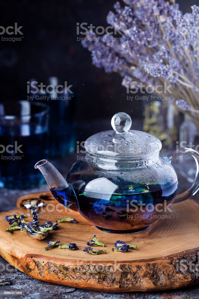 Thai blue tea anchan stock photo