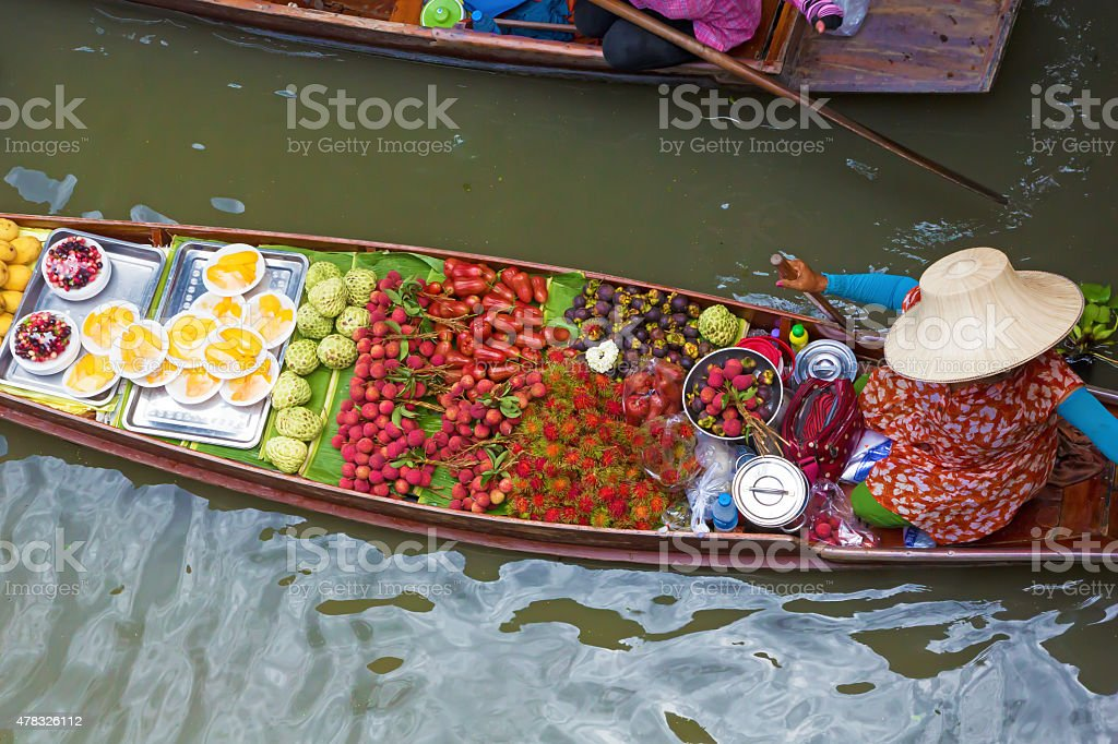 Thai boat in floating market stock photo