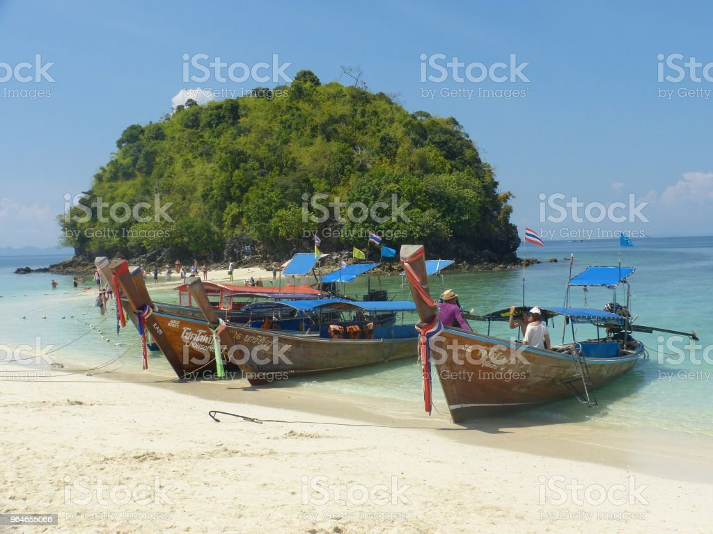 Thai boats in the beach royalty-free stock photo
